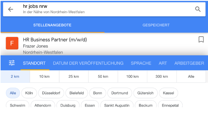 Google for Jobs Filteroptionen